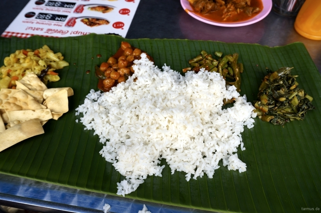 Traditional Indian Dish Served on a Banana Leaf