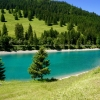 Crystal-clear Stausee lake